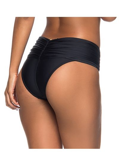 Pleted black tab side bikini briefs - BOTTOM FAIXA DRAPEADA PRETO