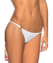 White textured adjustable Brazilian bikini bottom - BOTTOM FLORES BRANCA