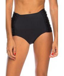 Black high-waisted pleated side bikini bottom - BOTTOM GRECIA ANTIGA