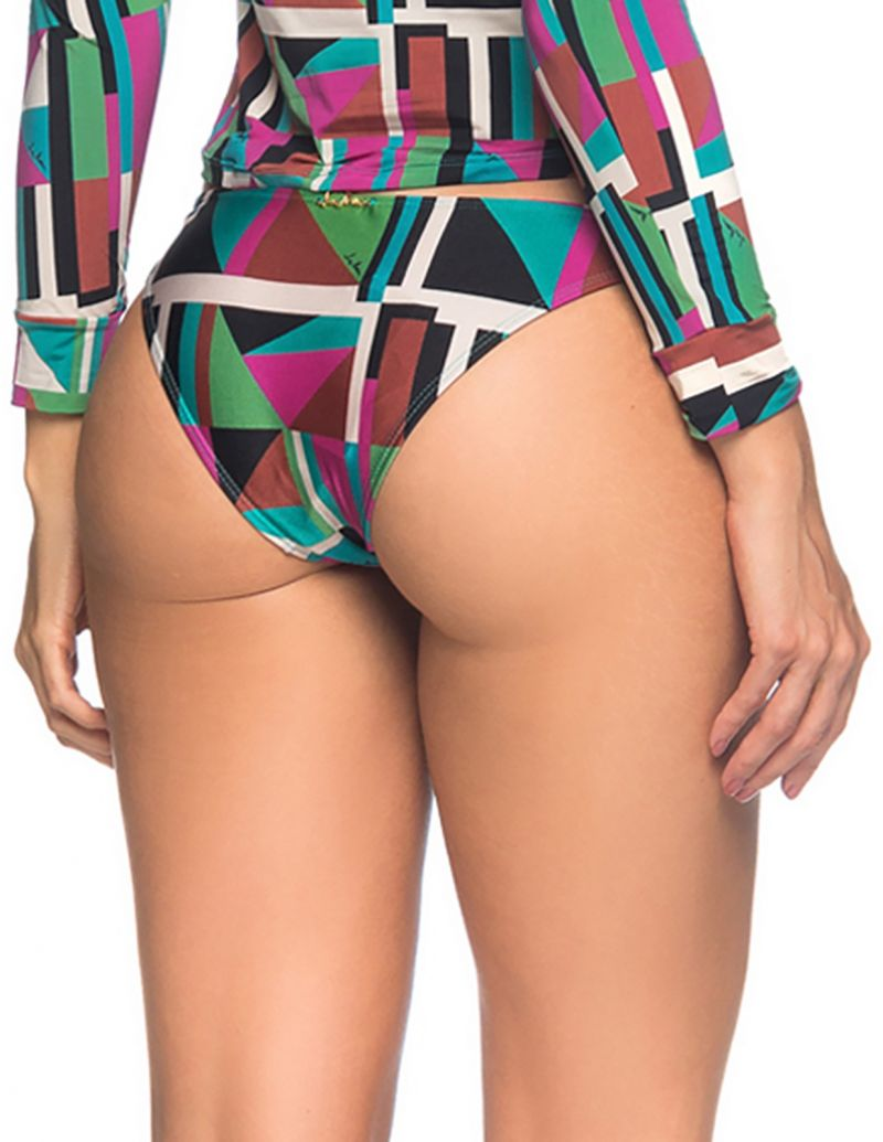 Double side colorful geometric bikini bottom - BOTTOM LONGA DELAUNAY