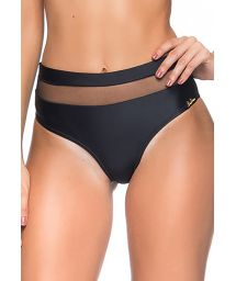 Black high-waisted bikini bottom with transparency - BOTTOM LUA BASE PRETO