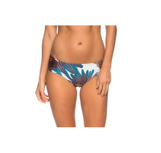 White larger side bikini bottom with feathers - BOTTOM MANGUE