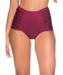 High-waisted pleated burgundy bikini bottom - BOTTOM METAL CERISIER