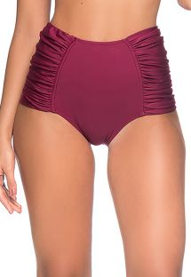 High-waisted pleated burgundy bikini bottom - BOTTOM METAL CERISIER