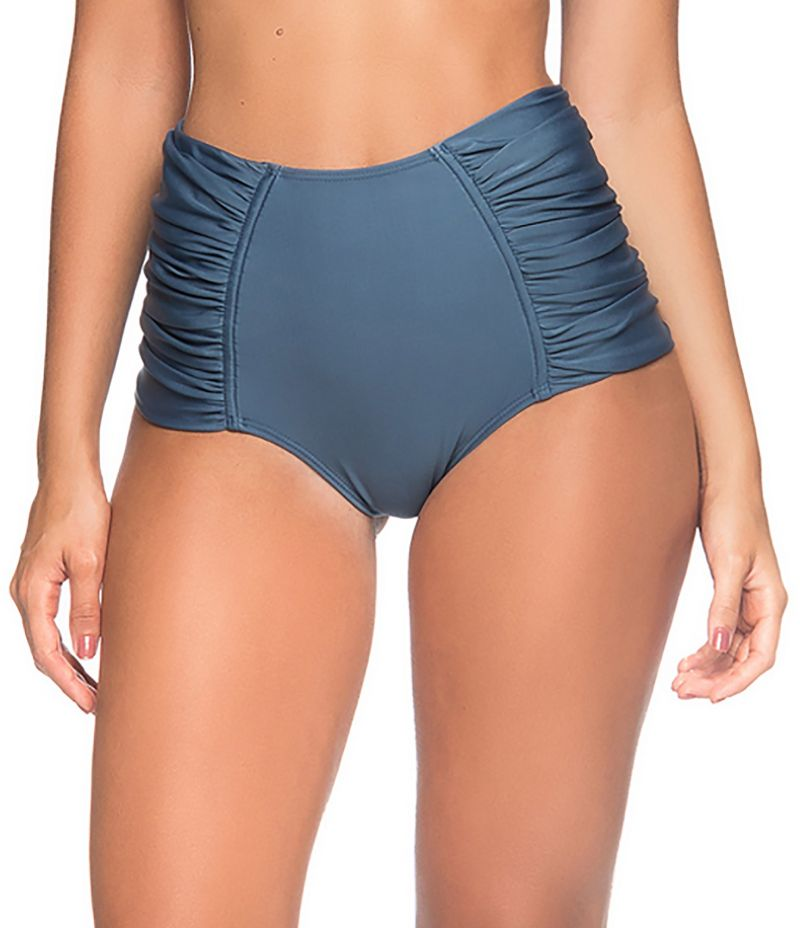 High-waisted pleated dark blue bikini bottom - BOTTOM METAL ELEGANCE