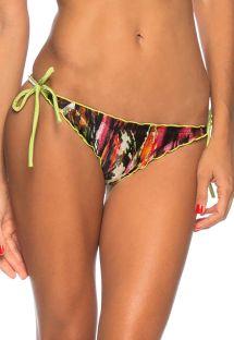 Mønstrede scrunch bikinitrusser med limegrønne kanter - BOTTOM MUSGO