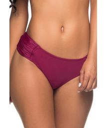 Solid red bikini bottom with pleated sides - BOTTOM NO CERISIER