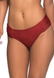 Dark red pleated larger-side bikini bottom - BOTTOM NO EBANO