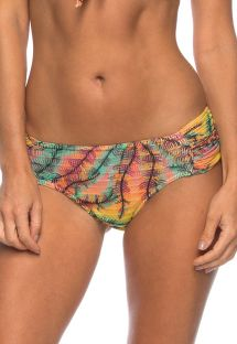 Tropical print pleated bikini bottom - BOTTOM PRAIA DO CUNGA