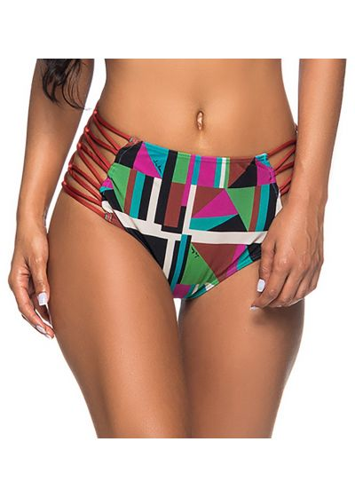 Colorful geometric high-waist bottom with sides laces - BOTTOM RECORTE DELAUNAY