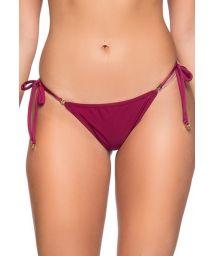Burgundy side-tie scrunch bikini bottom - BOTTOM RIPPLE CERISIER