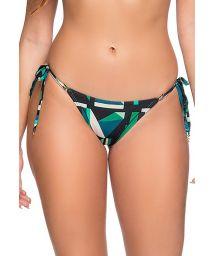 Graphic green side-tie scrunch bikini bottom - BOTTOM RIPPLE ESSENCE