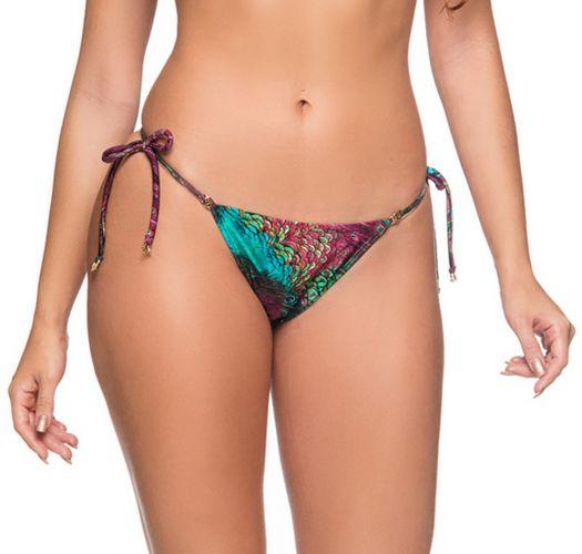 Peacock print side-tie scrunch bikini bottom - BOTTOM RIPPLE VOLERY
