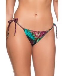Peacock print side-tie scrunch bikini bottom - BOTTOM RIPPLE VOLERY