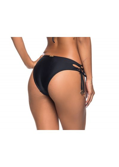 Black Brazilian bikini bottom laced sides - BOTTOM ROLETÊ PRETO
