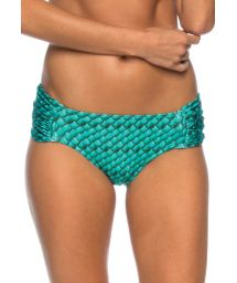 Blue printed tanga bottoms with wide pleated sides - BOTTOM SCALES MEDIA BLUE
