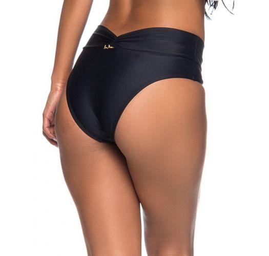 Black folding bikini bottom with draped effect - BOTTOM SUSTENTACAO PRETO