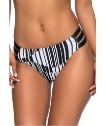 Black & white geometric strappy bikini bottom - BOTTOM TQC BASE PRETO