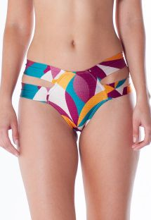 Brazilian bikini bottom with double sides, colorful print - BOTTOM TQC ILHOS RAMA