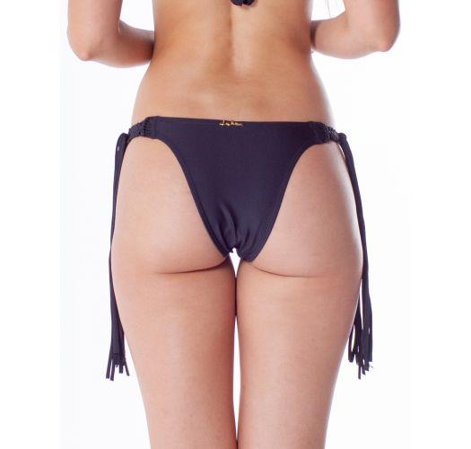 Black Brazilian bikini bottom with fringes and macrame - BOTTOM TQC MACRAME PRETO