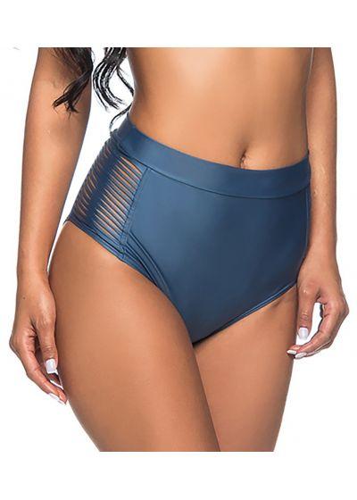 Dark blue high-waisted bikini bottom with side stripes - BOTTOM TQC TRESSE ELEGANCE
