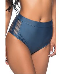 Dark blue high-waisted bikini bottom with side stripes - BOTTOM TQC TRESSE ELEGANCE