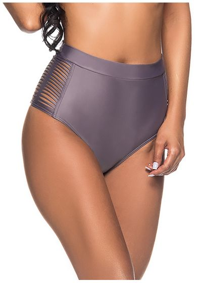 Grey high-waisted bikini bottom laced sides - BOTTOM TQC TRESSE VINTAGE