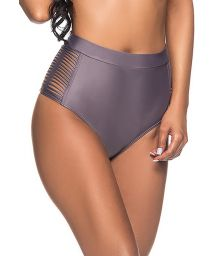 Grey high-waisted bikini bottom laced sides - BOTTOM TQC TRESSE VINTAGE