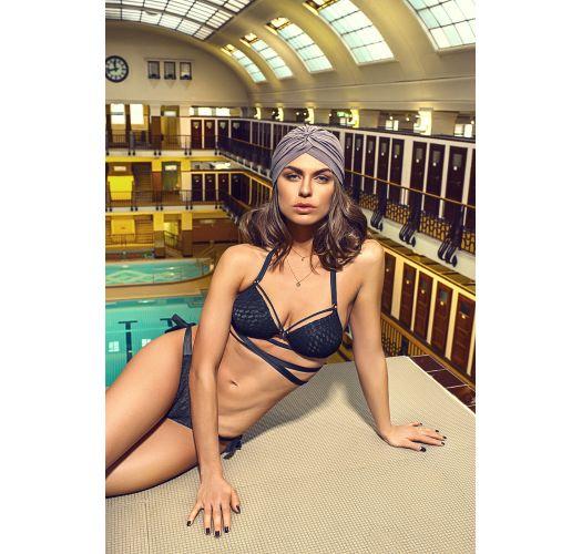 Schwarze geschnürte Bikinihose, Spitzeneffekt - BOTTOM TRANSPASSADO LAÇO PRETO