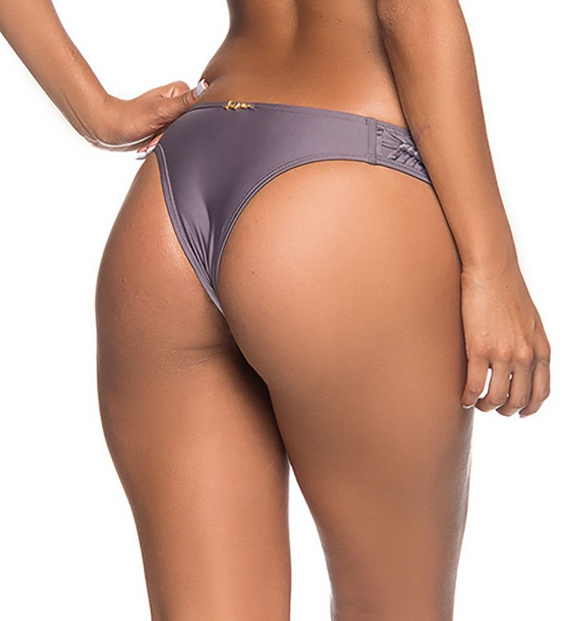 Grey Brazilian bikini bottom with braided edges - BOTTOM TRESSE VINATAGE