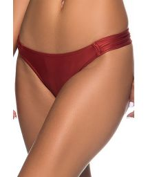 Brazilian bikini bottom pleated sides in solid red - BOTTOM TURB EBANO