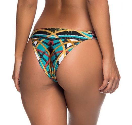 Brazilian bikini bottom pleated sides in colorful print - BOTTOM TURB MOSAIC