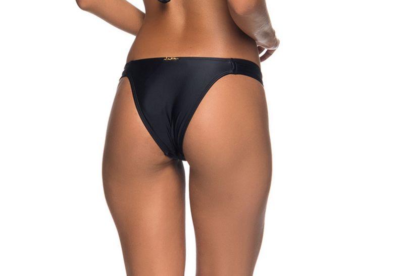 Black Brazilian bikini bottom pleated sides - BOTTOM TURB PRETO
