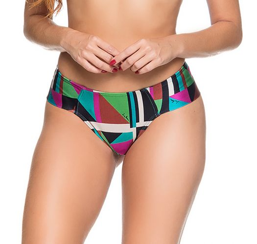 Farbenfrohe Bikinihose mit breiten Seiten - BOTTOM ZIPPER DELAUNAY