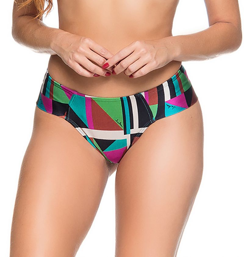 Colorful larger side cheeky bikini bottom - BOTTOM ZIPPER DELAUNAY