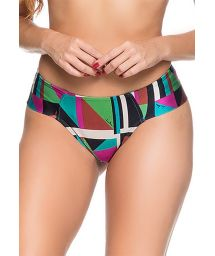 Colorful larger side cheeky bikini bottom - BOTTOM ZIPPER DELAUNAY