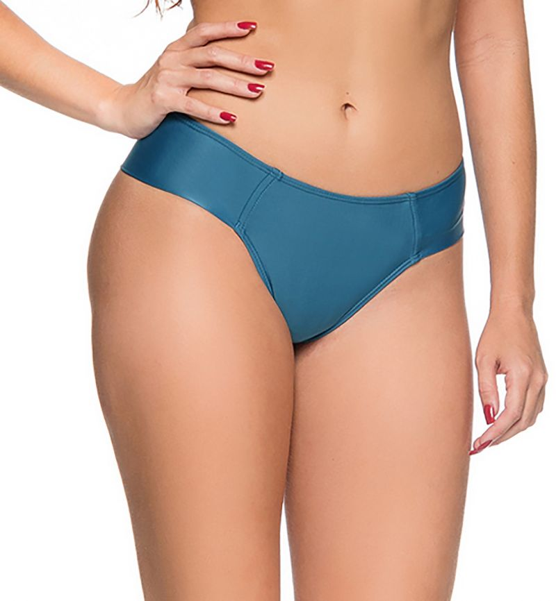Dark blue larger side cheeky bikini bottom - BOTTOM ZIPPER ELEGANCE