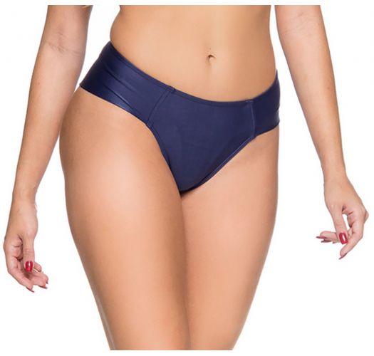 Dunkelblaue Cheeky-Bikinihose, breite Seiten - BOTTOM ZIPPER NEW YORK