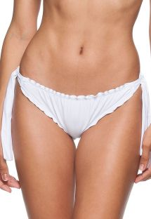 White tie-side Brazilian bikini bottom with scallop trim detail - CALCINHA AREIA BRANCA