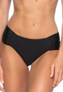 Black Brazilian bottom with wide pleated sides - CALCINHA BETINA