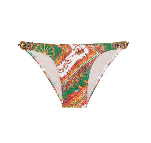 Sicilian print swimsuit bottom with accessories - CALCINHA CARRETO