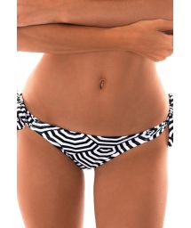 Low-cut bottoms with side knots in a two-tone geometric print - CALCINHA GUARDA PRETO