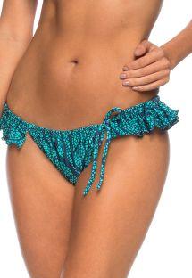 スカート効果のひだ飾りが付いたブルーのブラジリアンボトム - CALCINHA INDIRA AZUL