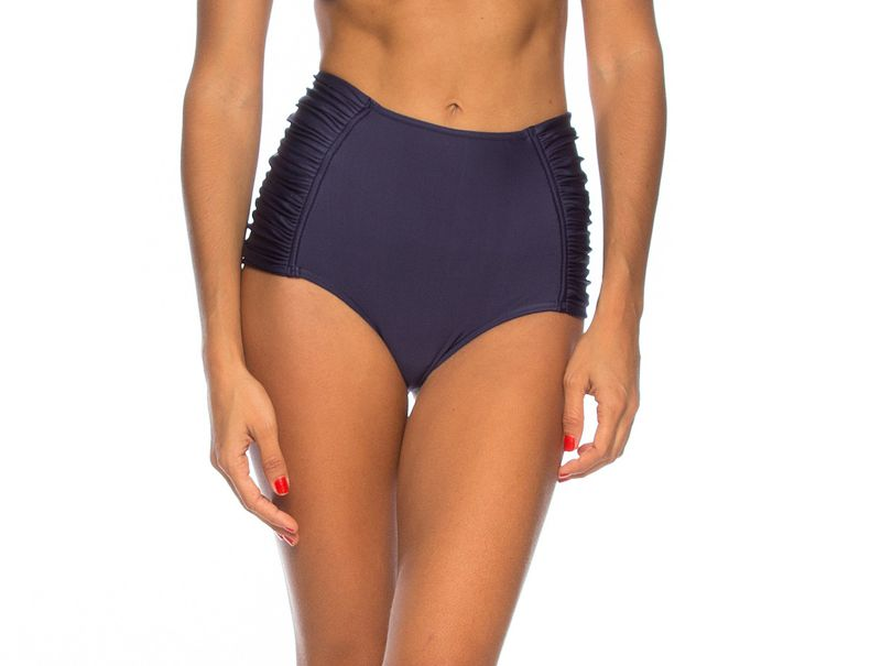 Midnight blue high-waisted bikini bottom with pleated sides - CALCINHA LEONICE