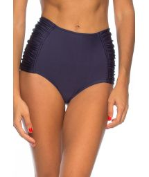 Midnight blue high-waisted bikini bottom with pleated sides - CALCINHA LEONICE