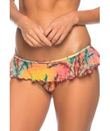 Brazilian ruffle skirt bikini bottom in a tropical print - CALCINHA LIRIO DO MAR
