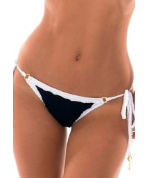 Textured black/white Brazilian scrunch bikini - CALCINHA MADELYN
