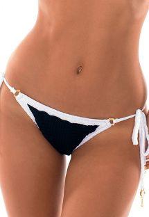 חלק תחתון ברזילאי מבד מכווץ צבע לבן/שחור עם מרקם - CALCINHA MADELYN