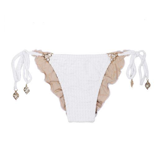 White scrunch bikini briefs with accessories - CALCINHA MINI ARABESCO BRANCO