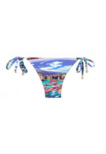 Blue printed low-rise bikini bottom with side ties - CALCINHA MINI BARCA